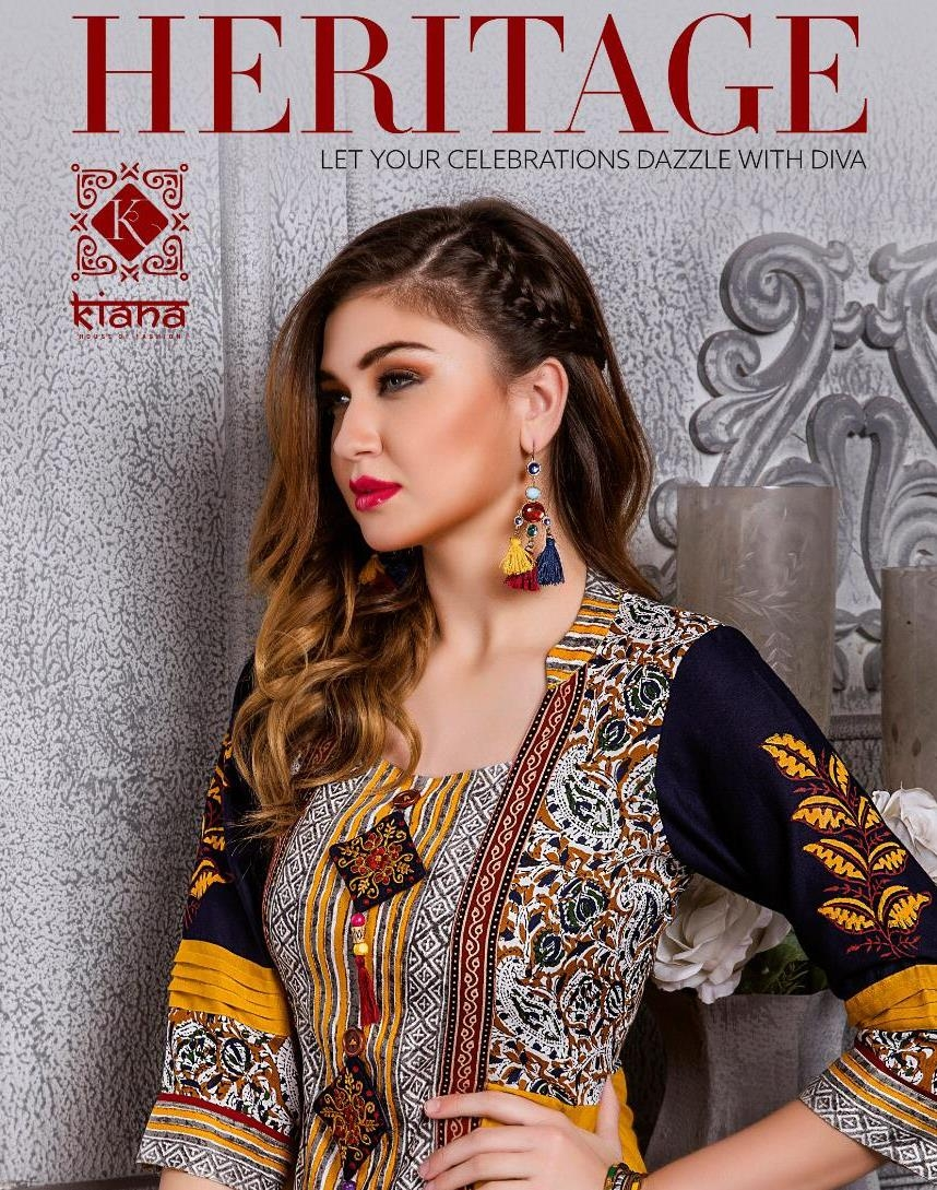 55397f25a KIANA HOUSE OF FASHION HERITAGE LONG FANCY INDIAN ETHNIC KURTIS CATALOG  2019 COLLECTION