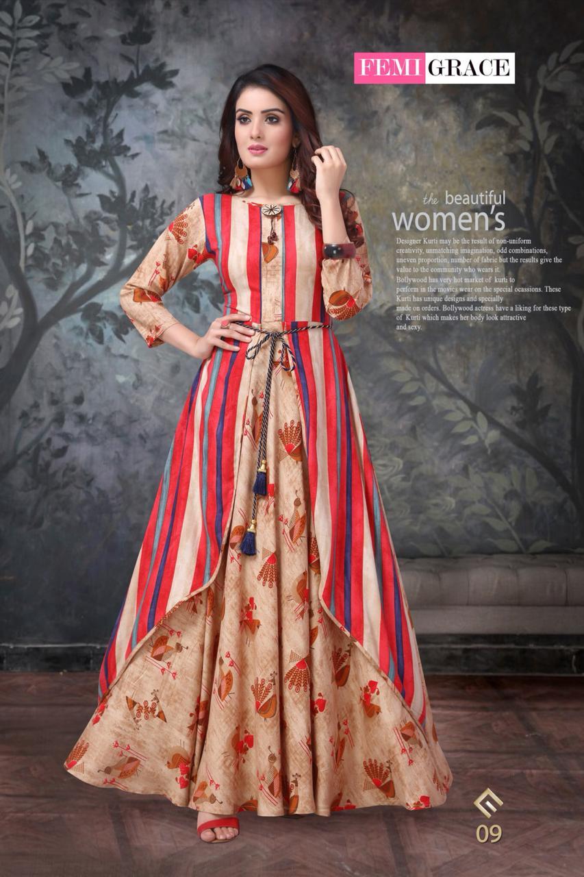 Femigrace Vol 2 By Madhuram Long Fancy Pattern Stylish Kurti Collection Wholesale Reewaz International Wholesaler Exporter Of Indian Ethnic Wear Catalogs