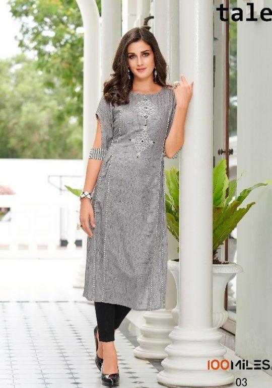 fb6d06c596 100miles Kurti Present Tale Fancy Embroidery Kurti Wholesaler & Dealer At  Surat