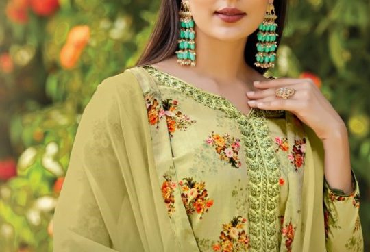 769a612cd5 TANISHK FASHION SAHO SILK SATIN DIGITAL PRINT WITH EMBROIDERY DRESS  MATERIALS